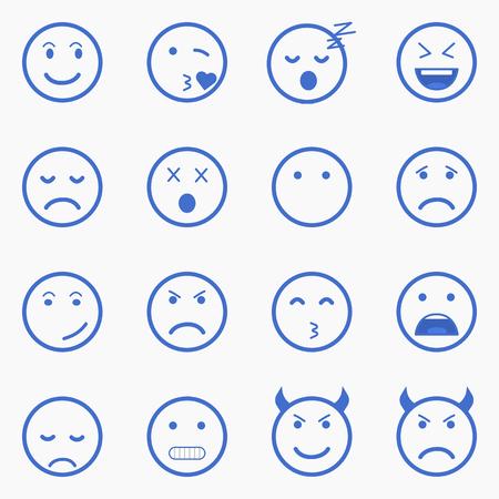Ensemble de émoticônes. Ensemble de Emoji. Jeu de Avatar. illustrations de style Outline