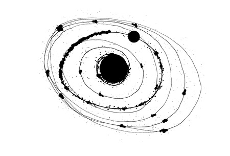 whit: Abstract solar system on white background whit black dots.