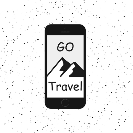 travel phone: Vintage hipster illustration.  style typography poster with phone, mountains and quote - go travel. Inspirational and motivational design