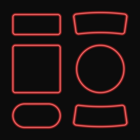 glisten: set of neon frame . Neon square and circle banner. Isolated on black background. graphic illustration for Your Design.
