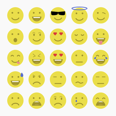 crying eyes: Set of Emoticons. Set of Emoji. Set of Avatar.Flat style illustrations Illustration