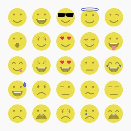 Set of Emoticons. Set of Emoji. Set of Avatar.Flat style illustrations Illustration