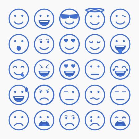Set of Emoticons. Set of Emoji. Set of Avatar. Outline style illustrations
