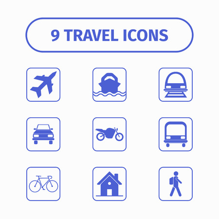 single object: Travel and transport icon set for Web and Mobile App. Each icon is a single object. Isolated on white background.