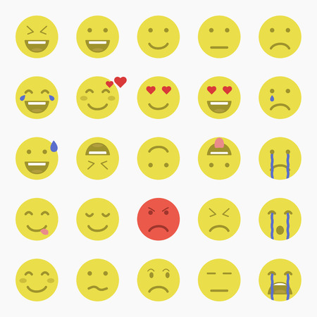 disappoint: Set of Emoticons. Set of Emoji. Set of Avatar.Flat style illustrations Illustration