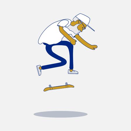 Koel vector hipster schaatser met baard en zonnebril doet een truc op skateboard. Urban burger karakter. Skateboarding illustratie.