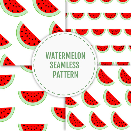wallop: Colorful stylish summer seamless pattern of watermelon slices. Vector illustration of summer fruits. Eco food illustration. Can be used for banner, cards, invitations etc.