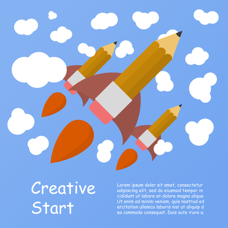 hand pen: Rocket ship launch made with pencil. Vector colorful background with graduation concept in flat style for education. Back to school image. Creative start.