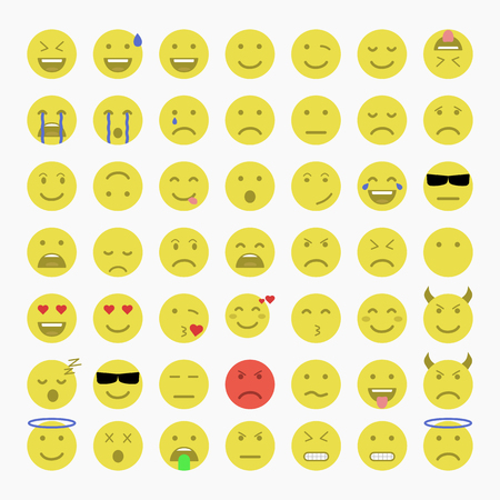 Set of Emoji, Avatar and Emoticons. Flat style illustrations - stock vector.