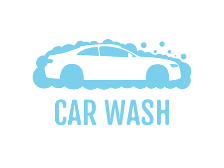 Car wash  flat design layout. Corporate vector symbol concept. Unique auto cosmetic icon template. Auto washing with shampoo foam bubbles. Automobile cleaning center service label. Water cloud.