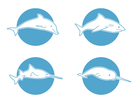 ocean view: Set of Blue flat  dolphin,shark fishsaw and narwhal for company and business.  of tourism, ocean view resort resort or boutique hotel by the sea or ocean. Icon of animal jumping isolated. Illustration