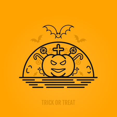 october 31: Happy halloween concepts with bats, moon, pumkin. cross and candies. Night party design for banner, graphics, wallpaper, page background, invitation. Trick or Treat. Vector Illustration 31 october