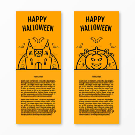 holiday house: Happy halloween concept orange vertical banners set with bats moon pumkin coffin graves castle church. Halloween vector design for web page graphics. Party Invitation. Place for your text. Halloween menu design.