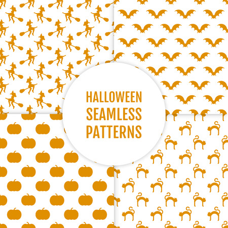 Happy Halloween set of seamless patterns with whitchs bats cats pumkins. Backgrounds in white and orange colors. Endless texture for wallpaper web page background wrapping paper. Vector illustration.