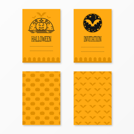 #67159120   Happy Halloween Invitations Set Templates With Bats, Moon,  Pumkin, Cross, Candies . Night Party Design For Banner, Invitation, Menu,  ...