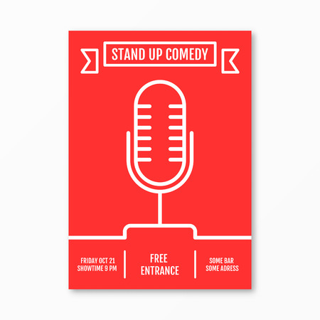 comedy show: Vector Illustration of stand up Comedy in Night Club event for performance show poster design, Banner, wallpaper. Microphone silhouette sutline style. Element template on red background. Illustration