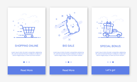 visualize: Illustration of onboarding app screens and flat line web icons for e-commerce mobile apps . Modern interface UX, UI GUI screen template for mobile smart phone. Concept delivery service. Illustration