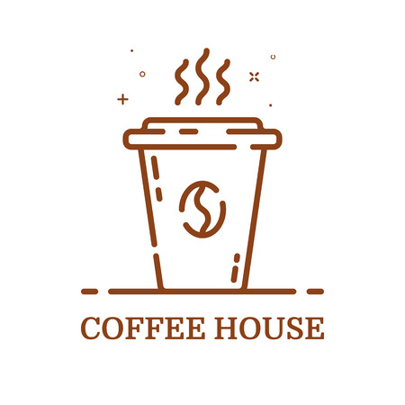 Vector illustration of emblem concept coffee house in line style. Linear brown cup. Icon Design for internet, banner, web page and mobile app. Outline object e-commerce. Coffee shop label, logo. Illustration