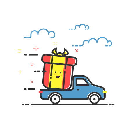 bounty: Vector illustration of icon shopping concept delivery servicein in flat line style. Colored motion truck with gift or bounty. Design for banner, web page and mobile app. Outline object e-commerce.