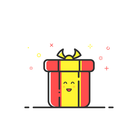 bounty: Vector illustration of icon shopping concept delivery servicein in flat line style. Colored gift or bounty. Design for banner, web page and mobile app. Outline object e-commerce. Vectores