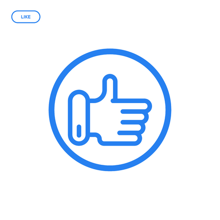 disapprove: Vector illustration of flat line hand icon. Graphic design concept of like. Use in Web Project and Applications. Blue outline isolated object.
