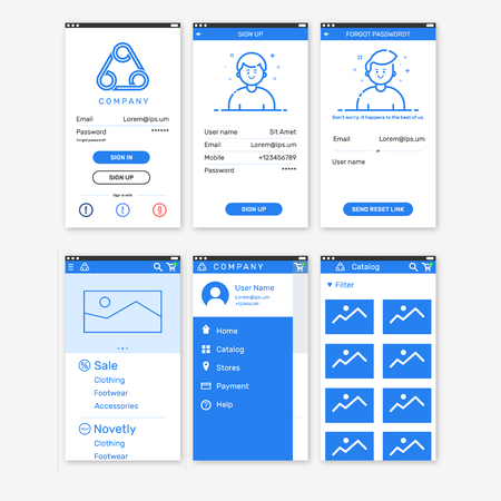 sign up: Vector Illustration of onboarding app screens for mobile apps and responsive website including Login, Sign Up, Forgot password, home, menu, catalog. Interface UX UI GUI screen template for smart phone