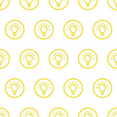 Vector illustration of seamless pattern with yellow bold icons in flat line style. Linear bulb. Use in web project applications, posters and banners. Outline isolated object. Texture Background. Illustration