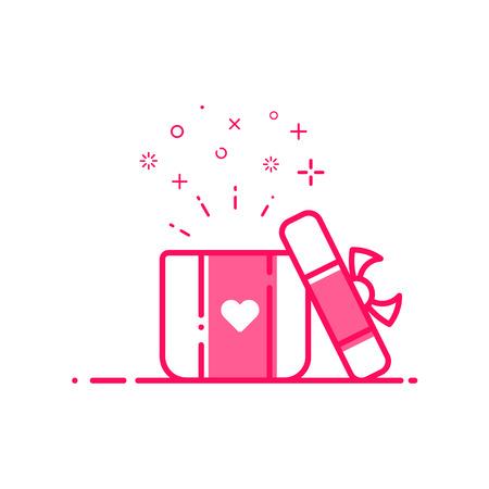 Ilustración de vector de icono día de San Valentín compras concepto publicidad y promoción en estilo de línea plana negrita. Diseño gráfico rosa regalo abierto o caja de recompensas con el símbolo del corazón. Esquema objeto e-commerce