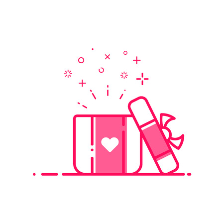 bounty: Vector illustration of icon valentines day shopping concept advertising and promotion in flat bold line style. Graphic design pink open gift or bounty box with heart symbol . Outline object e-commerce