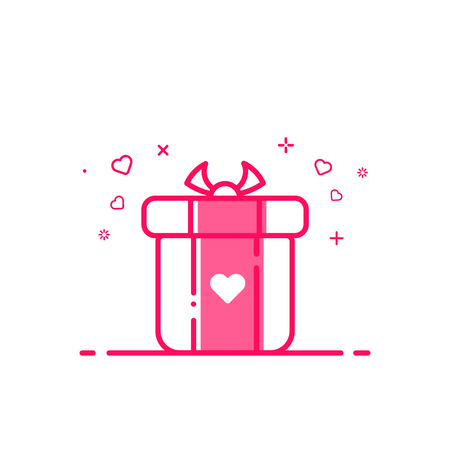 bounty: Vector illustration of icon valentines day shopping concept advertising and promotion in flat bold line style. Graphic design pink gift or bounty box with heart symbol . Outline object e-commerce.