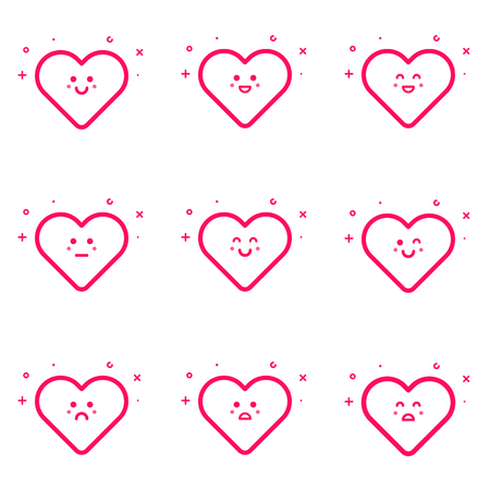 teases: Vector illustration of emoticons pink icon set in flat line style. Linear Smile, wink, sad, laugh, teases, shy, surprised hearts. Graphic design concept of Valentines Day icons on white background.