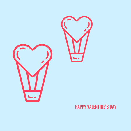 add text: Vector illustration of valentines day concept in flat bold line style. Graphic design pink hearts with baskets on blue background. Outline love symbols objects. Can be add text. Illustration
