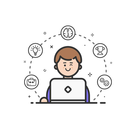 computer work: Vector illustration of colored icon in flat line style. Linear cute and happy man with laptop. Graphic design concept of art Director use in Web Project and Applications Outline isolated object. Illustration