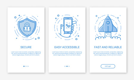 Vector Illustration of onboarding app screens and web concept design team for mobile apps in flat line style. Illustration