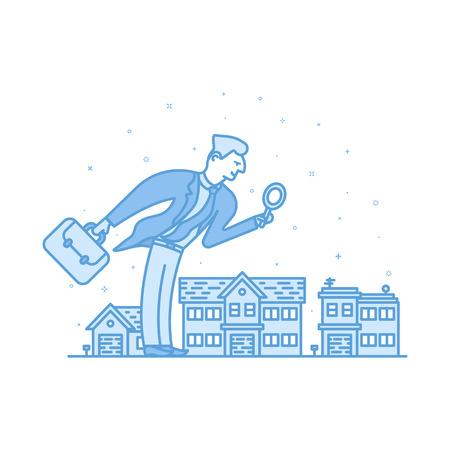 investor: Vector illustration of Investor businessman in flat bold linear style. Illustration