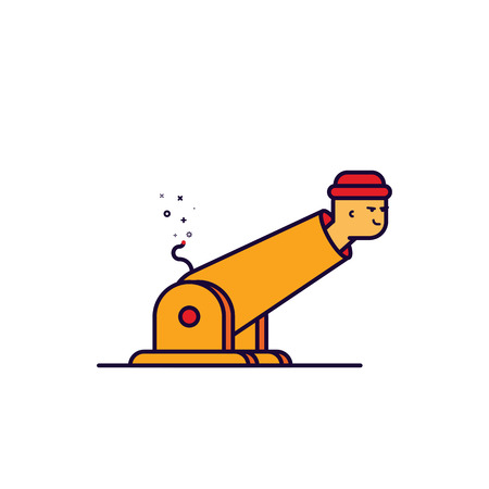 Vector illustration of cartoon outline man in cannon. Illustration