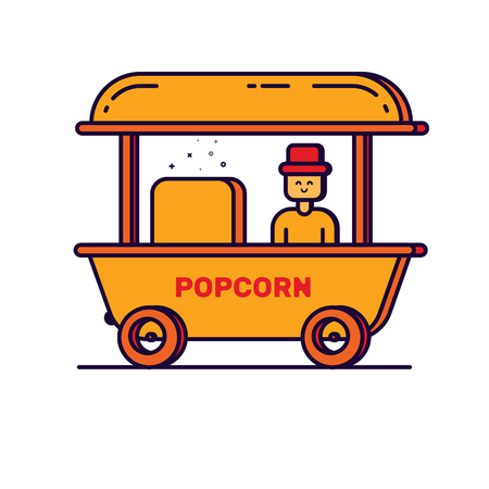 Illustration of cartoon outline man with popcorn cart carnival store.