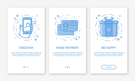Vector Illustration of onboarding app screens and web concept online payments application for mobile apps in line style.