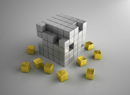Gold cubes crumble photo