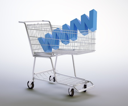 World wide web symbol inside a shopping cart Stock Photo