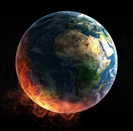 blue flame: Global catasrtophe concept illustration