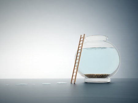 leap: Empty fishbowl with a ladder - independence and freedom concept illustration