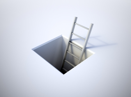 achievement concept: A ladder leading from underground