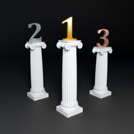 Three corinthian columns supporting golden, silver and bronze numbers.