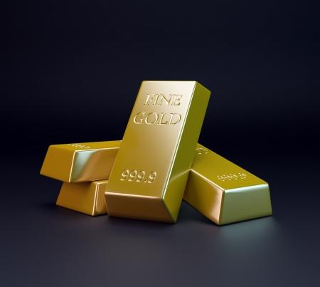 lingotes de oro: Tres barras de oro - el comercio del oro Foto de archivo
