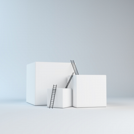 Climbing abstract boxes - progress concept photo