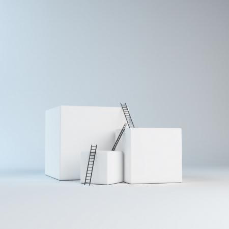 batch: Climbing abstract boxes - progress concept