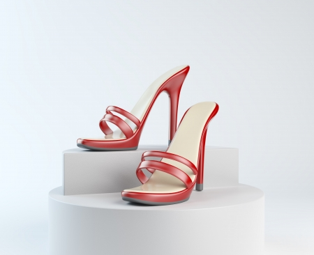 Woman shoes on display Stock Photo