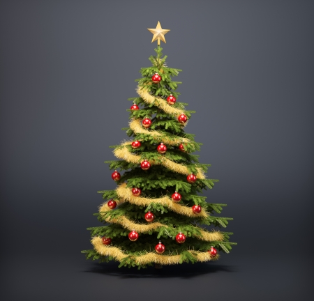 christmas trees: Christmas tree on a dark background Stock Photo