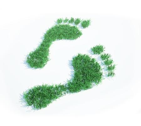 huellas de pies: Huella ecológica Foto de archivo